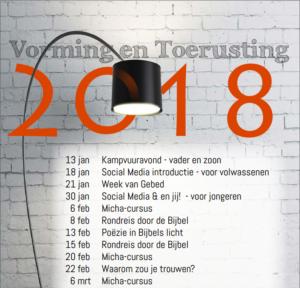 Kop van voorpagina van de flyer -Vorming en Toerusting 2018-